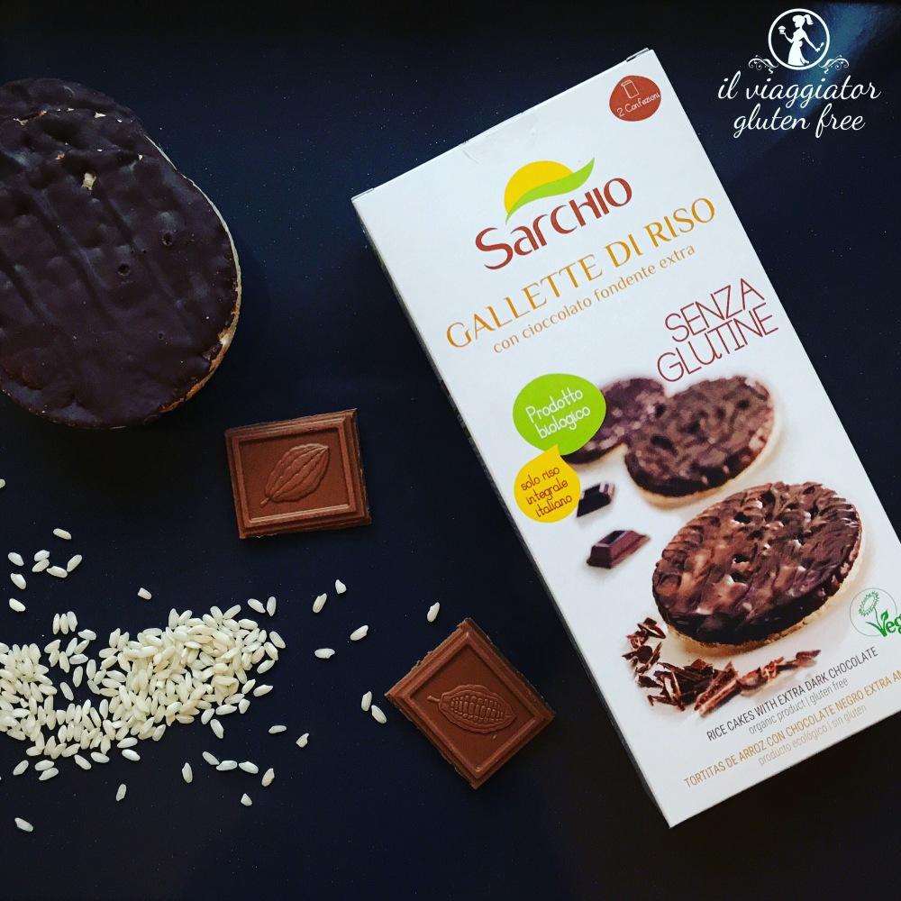 Sarchio - Gallette di riso senza glutine con cioccolato fondente extra